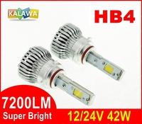 4th Generation HB4 42W 7200LM Auto car Led headlight fog lamp Double COB chip H1 H7 9005 9006 fit for toyo.ta maz.da GGG