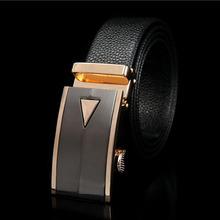 La correa más el tamaño de cuero cinturones automáticos hebilla 2014 de los hombres de moda cinturón negro elegante de la marca de lujo lengh 130cm calidad del hight(China (Mainland))