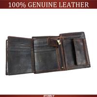 2015 vintage purse men wallets genuine leather wallets Cowhide Trifold Zipper men's wallet short vertical design purse