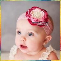 Vintage Baby pearl rhinestone tiara crown Flower lace elastic band Toddler Photo Prop newborn accessories #8w0032 10pcs/lot