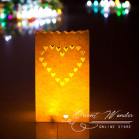 Free Shipping 100pcs Heart Candle Paper lantern Bag, luminary tealight holder Paper Bag for Wedding  Party Event Decoration