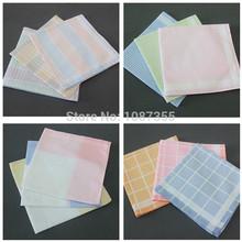 6pcs/lot Women Mens Pocket Square 100% Cotton Handkerchief Vintage Hankies Plaid Hankchief 28*28cm (2lots 10% OFF)(China (Mainland))