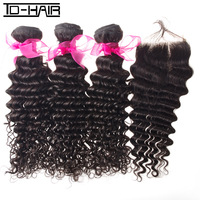 6A Brazilian virgin hair extension Deep wave bundles with one freestyle lace closure 4pcs/lot human hair natural color 1b#