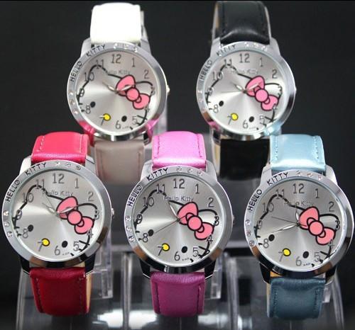 Children's Watch Cartoon Hello Kitty PU Leather Wristwatch Leisure Cute Kids Quartz Wrist Watch for Girl Student Red Mix Color(China (Mainland))