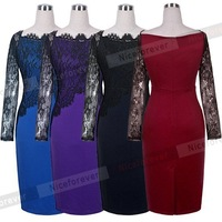 2015 spring winter Women red Casual Patchwork Bodycon bandage Party Pencil sexy lace long sleeve warm vintage women's dress 803