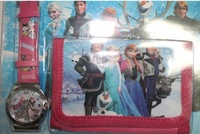 DHL/EMS free shipping 120sets/lot wholesale newest hot sale high quality Anna elsa cartoon kids girls wallet wristwatch