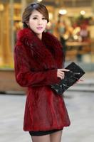 2014 women's faux mink fur coat female slim medium-long outerwear coats artificial raccoon fur collar