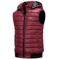 Hot! NIKE 2014 Autumn Winter Casual Hooded Vest Men High Quality Cotton-padded Waistcoat Men vest