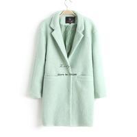 New style winter long wool coat woolen outerwear women's woolen overcoat Green, Dark Green M;L;XL b9 SV007222