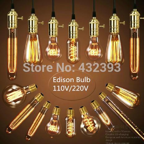 Antique Retro Vintage Edison Light Bulb E27 Incandescent Light Bulbs ST64 G95 Squirrel-cage Filament Bulb Edison Lamp Home Decor(China (Mainland))