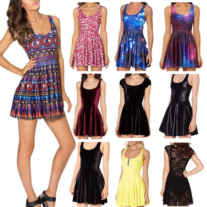 2014 Autumn Skater Dress Black Milk A Whole New World Reversible Skater Dress Print Dresses Plus Size Dress Novelty vestidos(China (Mainland))