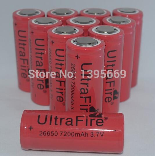 5 Pcs/lot 7200mAh 26650 battery 3.7V Li-ion Rechargeable Battery UltraFire 26650 Flashlight batteries free shipping wholesale(China (Mainland))