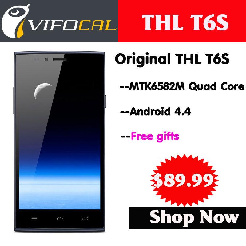 "2014 New Original THL T6S Mobile Phones Quad Core MTK6582M Android 4.4 Smartphone 5.0"" IPS 1GB RAM 8GB ROM GPS Dual sim card 3G WCDMA Multi Language(China (Mainland))"