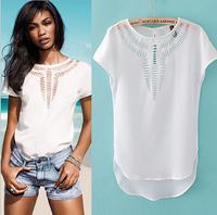 Hot 2015 summer sexy hollow out chiffon shirt women's Tops white women blouse shirts free shipping XFS-15