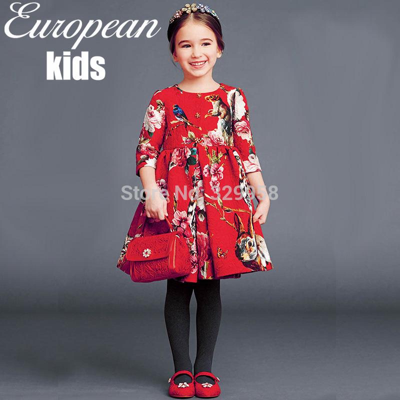 2015 autumn winter Gabbana style high quality brand children dress,top quality baby girl dress(China (Mainland))