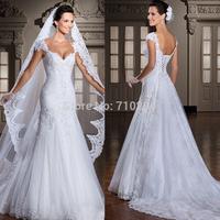 2014 New fashion Brazil vestido de noiva cap sleeve lace wedding dress with detachable train