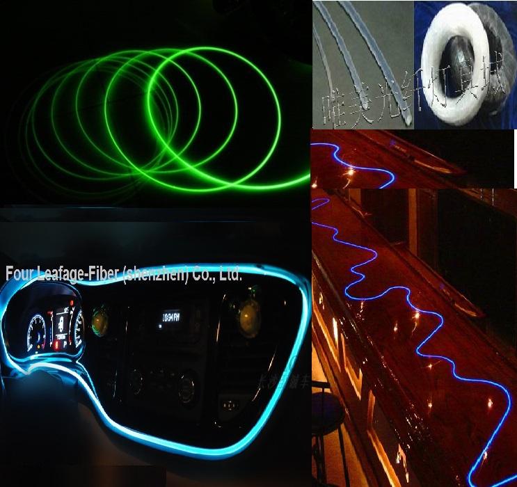 side glow fiber optic 1.5mm soft whole body line-emitting optical fiber plastic fiber light used in waterproof inside outside(China (Mainland))