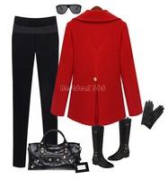 Women Elegant  Winter Parka Coat Jacket Overcoat Long Sleeve Double-breasted Cashmere Empire Peplum Coat b8 SV006380