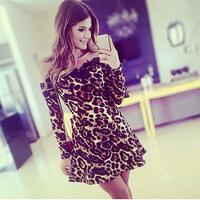Tulle Lace Leopard Dress Three Quarter Gauze Stitching Vestido Leopardo Animals Print Summer Dress 2014