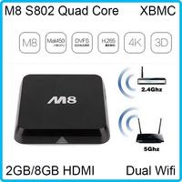 4K 1080P M8 Amlogic S802 DDR3 2GB 8GB Android M8 TV Box Quad Core Mali450 HDMI Dual WiFi 2.4G/5G Pre-installed XBMC APK IPTV HDD