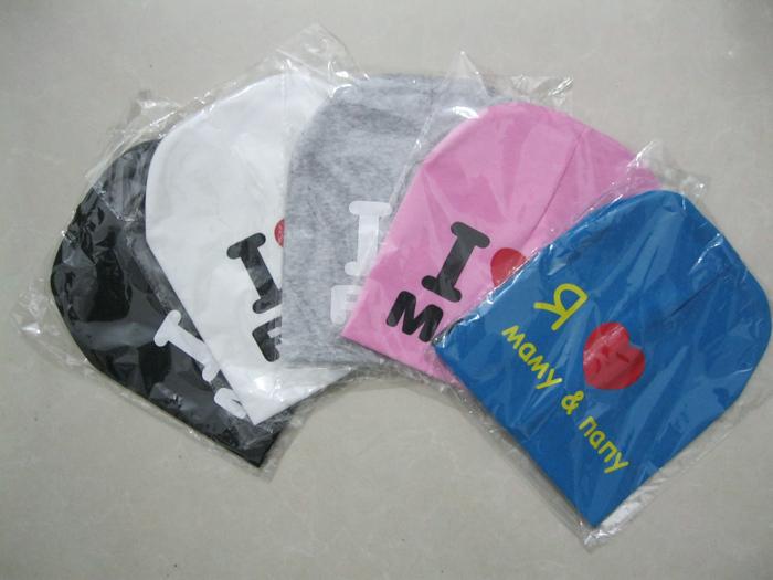 10piece/lot i love mama i love papa baby hat baby cap infant cap cotton infant hats skull caps toddler boys girls gift(China (Mainland))