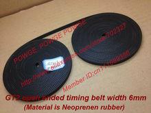 10Meters Rubber  GT2 open timing belt  width 6mm GT2-6mm for 3d printer RepRap Mendel Rostock CNC GT2 belt pulley(China (Mainland))