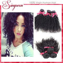 Brazilian virgin hair kinky curly virgin hair1pc cheap human hair natural black color50g bundles kanekalon hair braid extensions(China (Mainland))