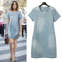 2014 Women Denim Dress Loose Short Sleeve Jeans Dress O Neck Casual Washed Beaded Elegant Evening Party Lady Dresses 5XL D44