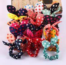 2015 moda 8 pçs/lote Mix estilo de cabelo banda Polka dot leopardo viagem corda cabelo orelhas de coelho cabelo scrunchy acessório do cabelo do laço(China (Mainland))
