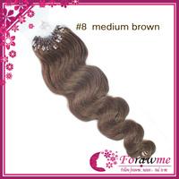 Forawme human hair brazilian body wave blonde micro loop hair extension #8 Medium blonde 100g/pack 100strands/lot