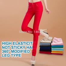 de moda femenina sexy color caramelo lápiz pantalones/pantalones casuales/pantalones pitillo con algodón otoño pantalones vaqueros sin ajuste señora envío(China (Mainland))
