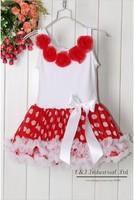 2015 New Ball Gown Knee Length Flowers Girl Dress Red Dot Petti Kids Dresses 1-6Y Tutu Children Clothing Kids Garment