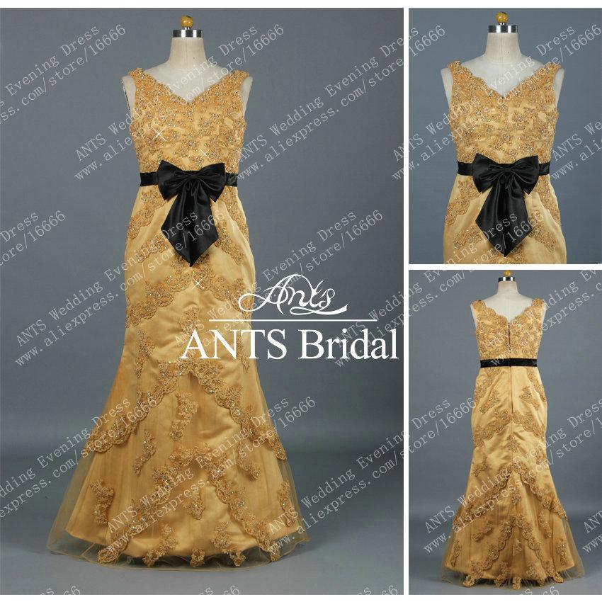 حزام أسود البهية السهرة فستان عروس البحر re467 الذهب الدانتيل