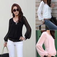2015 New fashion East Knitting  Women chiffon long-sleeve collar Shirts  womans blouses top sale J0120