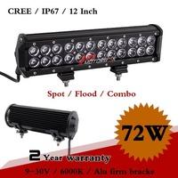 12 Inch 72W CREE LED Work Light Bar 12V 24V IP67 Adjustable Brackets Fog Light for SUV Truck ATV LED Light Bar Save on 126W