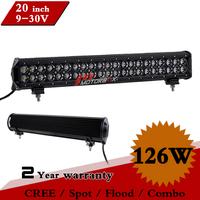 20Inch 126W CREE Led Work Light Bar 12V 24V IP67 Spot Flood Adjustable Brackets for SUV Truck ATV LED Light Bar Save on 60W 120W