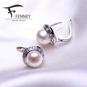 Fenney 100% натуральный жемчуг серьги, жемчуг с стерлингового серебра 925 серьги, подарок на день рождения ювелирные изделия женщины аксессуары серьги