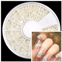 wholesale lots Elegant Round Wheel Case Nail Art Decoration Pearl 10# White Case