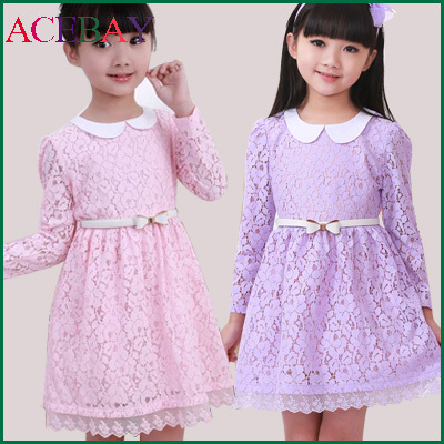 Toddler Girls Lace Dress For Girl 2015 Long Sleeve Dresses Girl's Clothing Dress For Girls Children's wear Free Shipping 51XZ(China (Mainland))