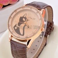 2014 Hot Sale Cat Watches Women Fashion Lady Dress Watch Vintage PU Leather Strap wristWatch free shipping B19 SV007643