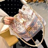 TopSale Women Patchwork Patterns Shoulder Bag Handbag Chain Messenger Drawstring Bags Diagonal Package Canvas Tote B16 SV010267