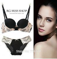 Intimates 2015 Elegant Lace Edging Thick r sexy Bra Set  Deep V Push up underwear women briefs set