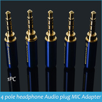 1pc 3.5mm Audio jack 4 Pole Earphone Audio & MIC Adapter gold-plated plug  carving Stereo headset rca three track Drop shipping