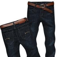 Men Winter Jeans Pants Brand Regular Straight Leg Slim Fit Denim Jean Solid Work Trousers For Man