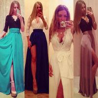vestidos femininos 2014 Sexy Women Party Prom Evening Side Slit Long Lace Dress Gowns vestido de festa longo branco dresses