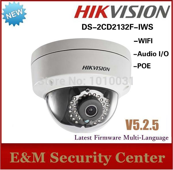 Free shipping New Arrival 3Mp Mini Dome Camera POE IP Audio I/O WIFI camera DS-2CD2132F-IWS(China (Mainland))