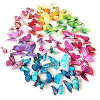 New 12Pcs/Lot Vinyl 3D Purple Butterflies For Wall Art Decal Removable Home Decoration DIY Beautiful Wall Stciker Home Decor