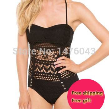 Sexy Lace Crochet One Piece Swimwear 2015 New Fashion Top Halter Monokini Vintage Hollow Women Swimsuit Free Shipping(China (Mainland))