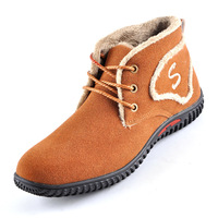 Big size suede leather winter warm boots men work boot snow man plush thicken fur flats ankle shoes lace-up driver outdoor 684