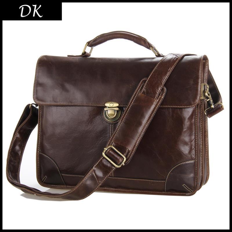 Free Shipping Hot Sale 100% Genuine Leather Men's Portfolio Business Bag Briefcase Laptop Messenger Handbag Men Vintage Bags(China (Mainland))